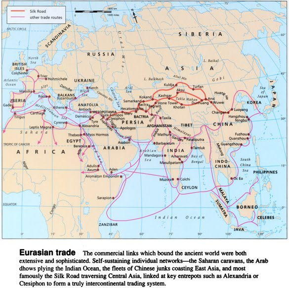 trade patterns in the afro eurasian history essay The silk road continued to connect europe with asia, serving as a primary trade  route for luxury goods it reached its greatest height during the mongol peace (c.